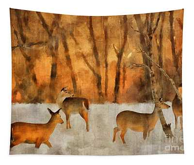 Creatures Of A Winter Sunset Tapestry