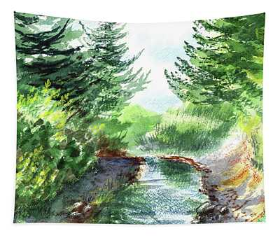 Creek In The Forest Watercolor Painting Tapestry