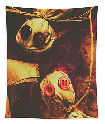 Creepy Halloween Scarecrow Dolls Tapestry