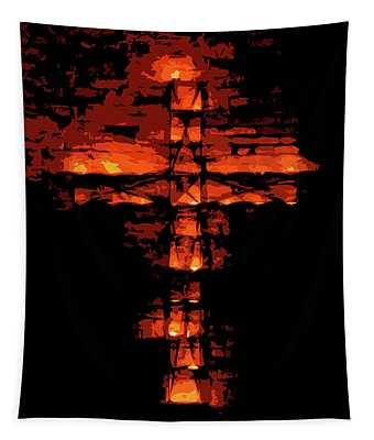Cross On Fire Tapestry by Andrea Mazzocchetti