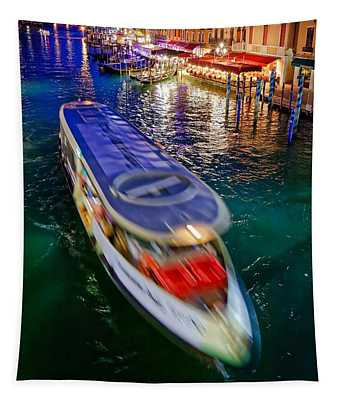 Vaporetto Crossing The Grand Canal At Night In Venice, Italy Tapestry