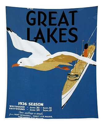 Cruise Across The Great Lakes - Canadian Pacific - Retro Travel Poster - Vintage Poster Tapestry
