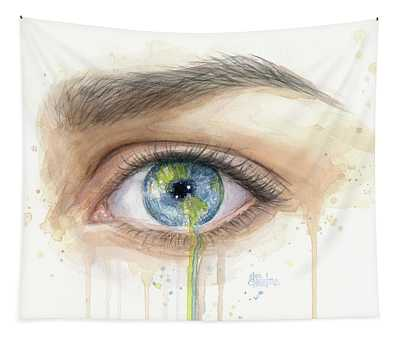 Earth In The Eye Crying Planet Tapestry