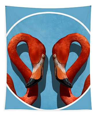 Curves, A Head - A Flamingo Portrait Tapestry