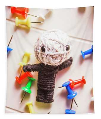 Cute Doll Made From Yarn Surrounded By Pins Tapestry