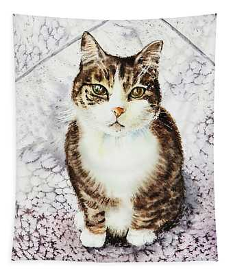 Cute Furry Friend Cat Painting Tapestry