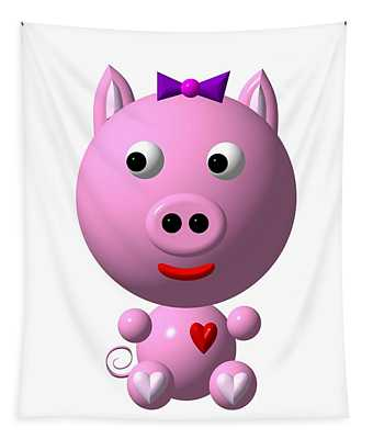 Cute Pink Pig With Purple Bow Tapestry
