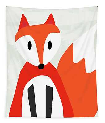 Cute Red And White Fox- Art By Linda Woods Tapestry