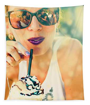 Cute Retro Girl Drinking Milkshake Tapestry