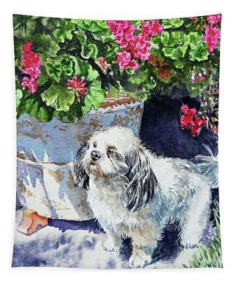 Cute Shih Tzu Dog Under Geranium  Tapestry
