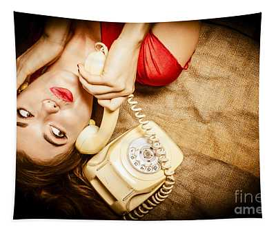 Cute Vintage Pin Up Girl Making Telephone Call Tapestry