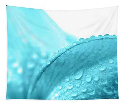 Aqua Petal Droplets Tapestry