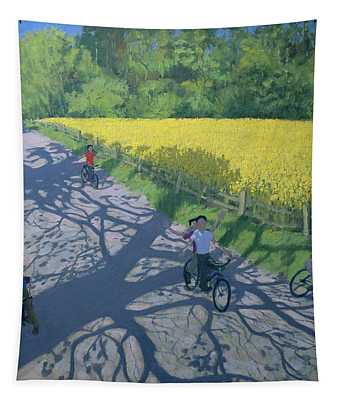 Cyclists And Yellow Field Tapestry