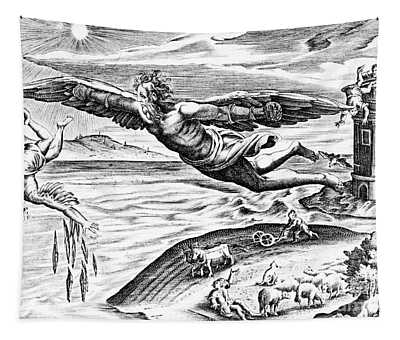 Daedalus Escaping From Crete With His Son, Icarus, Sees Him Falling To His Death Tapestry