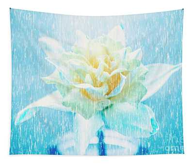 Daffodil Flower In Rain. Digital Art Tapestry