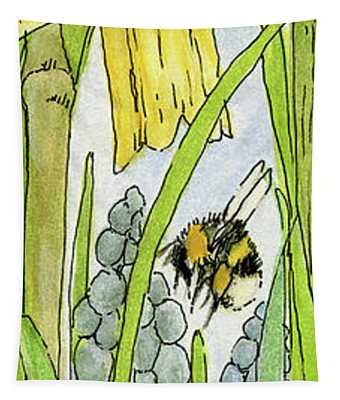 Daffodils And Bees Tapestry