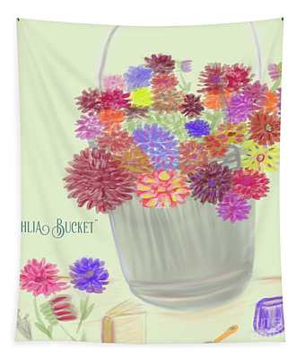 Dahlia Bucket Illustration Tapestry