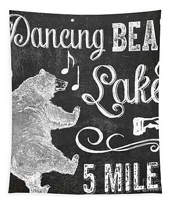Dancing Bear Lake Rustic Cabin Sign Tapestry