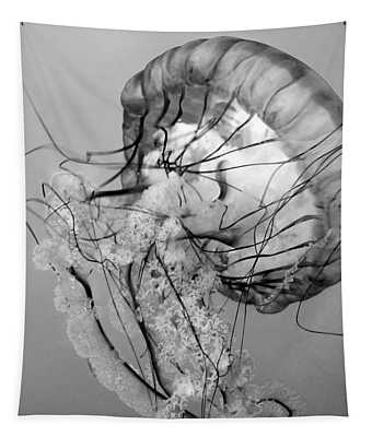 Dancing Jellyfish Bw Tapestry