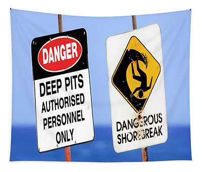 Dangerous Surf Warning Signs At Pipeline On Oahu's North Shore.  Tapestry