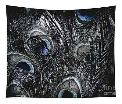 Dark Blue Peacock Feathers  Tapestry