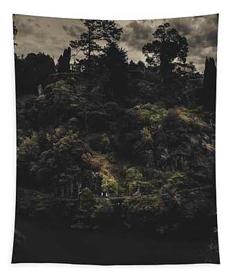 Dark Landscape Photograph Of Distant People Hiking Tapestry