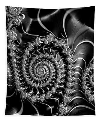 Dark Spirals - Fractal Art Black Gray White Tapestry