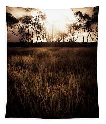Dark Wetland Sunset Scene Tapestry