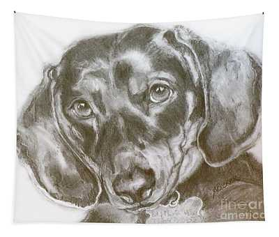 Daschund Pencil Drawing Tapestry