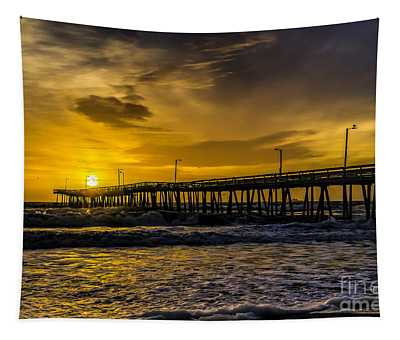 Dawn At The Virginia Pier Tapestry