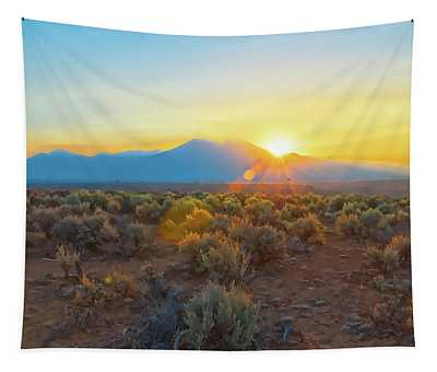 Dawn Over Magic Taos Mountain Tapestry