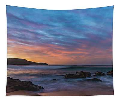 Dawn Seascape With Rocks And Clouds Tapestry