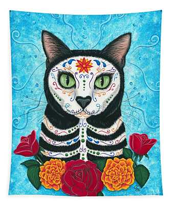 Day Of The Dead Cat - Sugar Skull Cat Tapestry