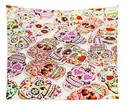 Day Of The Dead Colors Tapestry