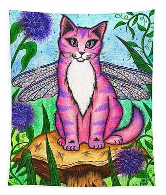 Dea Dragonfly Fairy Cat Tapestry