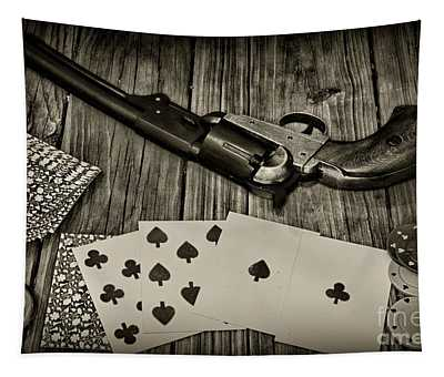 Dead Mans Hand Black And White Tapestry