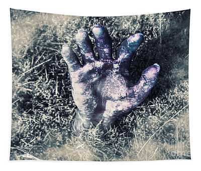 Decaying Zombie Hand Emerging From Ground Tapestry