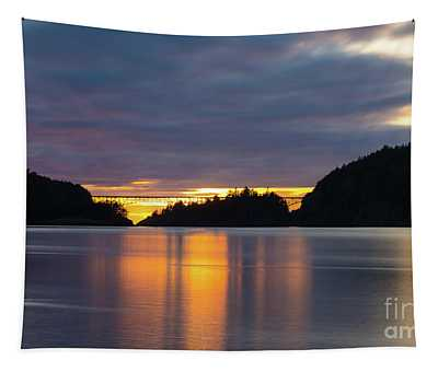Deception Pass Bridge Sunset Reflection Tapestry