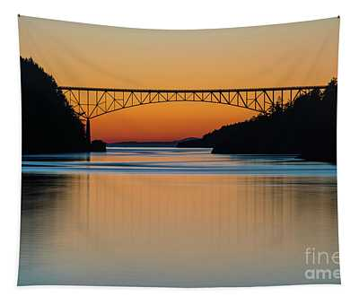 Deception Pass Bridge Sunset Tranquility Tapestry