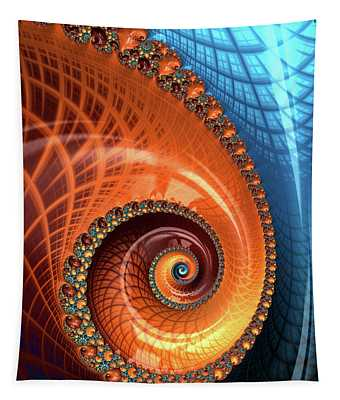 Tapestry featuring the digital art Decorative Fractal Spiral Orange Coral Blue by Matthias Hauser