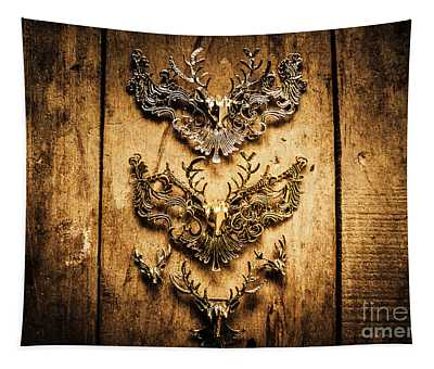 Decorative Moose Emblems Tapestry