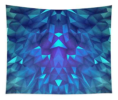 Deep Blue Collosal Low Poly Triangle Pattern  Modern Abstract Cubism  Design Tapestry