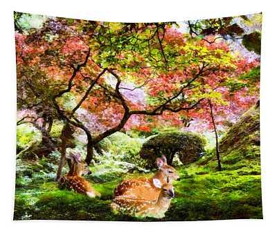 Deer Relaxing In A Meadow Tapestry