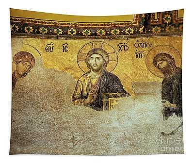 Deesis Mosaic Hagia Sophia-christ Pantocrator-the Last Judgement Tapestry