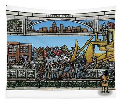 Defend Detroit Tapestry by Ricardo Levins Morales