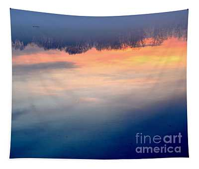 Delaware River Abstract Reflections Foggy Sunrise Nature Art Tapestry