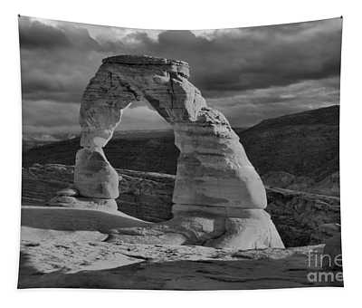 Delicate Arch Black And White Sunset Shadow Tapestry