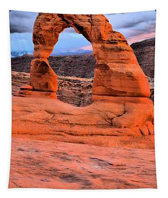 Delicate Arch Sunset Portrait Tapestry