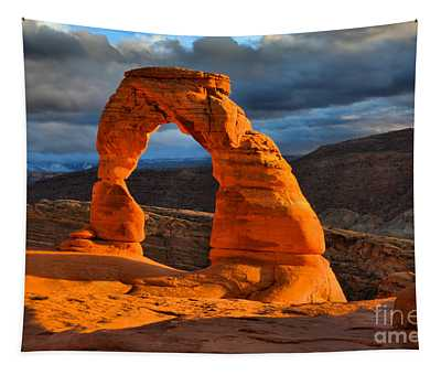 Delicate Arch Winter Glow Tapestry