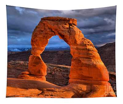 Delicate Arch Winter Sunset Glow Tapestry